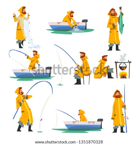 Fisherman Fishing with Net and Fishing Rod in Boat, Man Cooking on Bonfire Vector Illustration ストックフォト ©