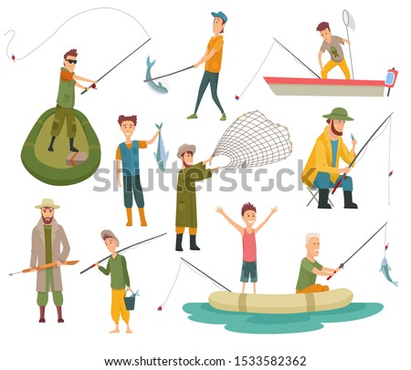 Fisherman flat icons. Fishing people with fish and equipment vector set.  ストックフォト ©