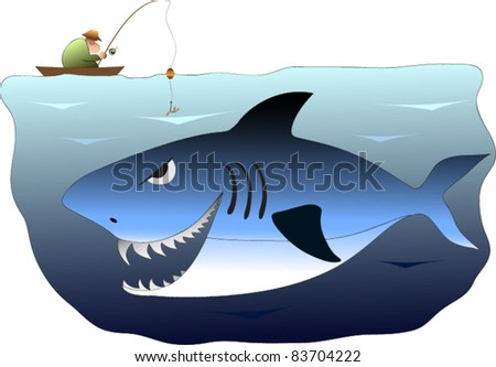 Fisherman in a boat angling, unaware of the great white shark lurking below
