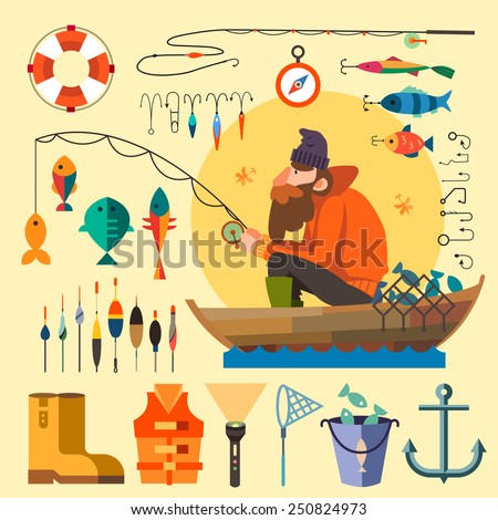 Fisherman in a boat fishing: fishing rod, hooks, bait, boat, fish, anchor, water, beard, chain, compass. Vector flat illustrations