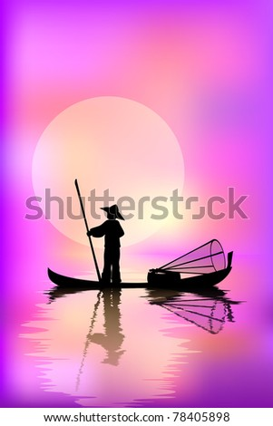 fisherman in a boat on a pink