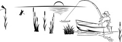 fisherman in a boat on the lake, black and white illustration