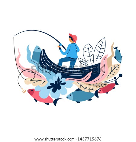 Fisherman in boat with rod fishing sport catching fish vector abstract concept fisher angling with spinning carp and bass herring or salmon outdoor activity and recreation leisure fishery equipment.