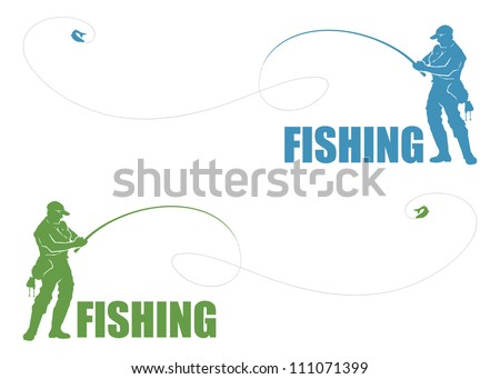Fisherman label - vector illustration