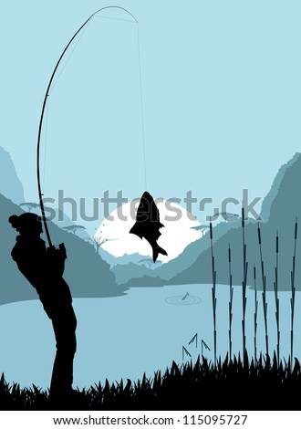 fisherman landscape vector