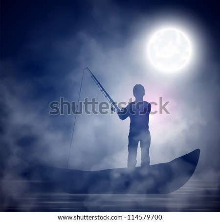 fisherman on the boat  night