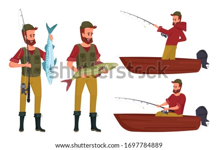Fisherman set cartoon vector illustration isolated on white background. Man character design with a beard in a red hoodie, green vest caught a big fish. Man fishing on boat. ストックフォト ©