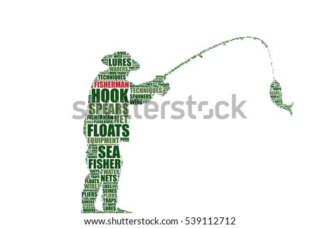 fisherman silhouette vector tag
