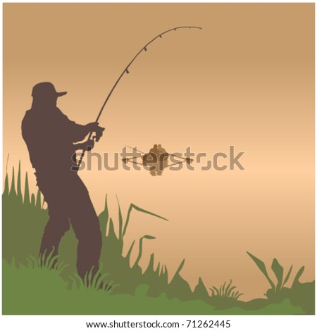 fisherman vector - stock vector