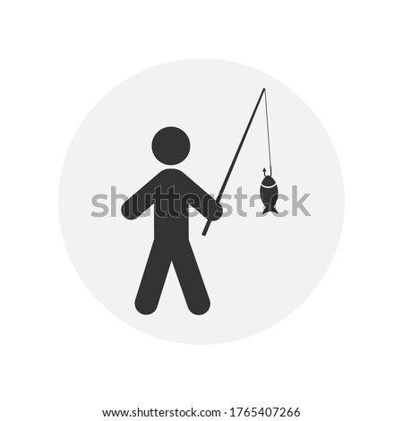 fisherman vector line icon