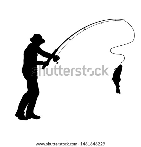 Fisherman with a fishing rod and fish. On white background fisherman. Isolated silhouette of a fisherman. Foto stock ©