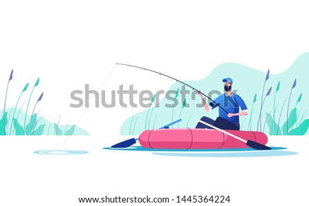 fisherman with a fishing rod in
