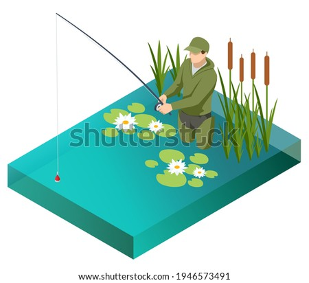 Fisherman with a fishing rod. Isometric fisherman with a fishing rod is fishing on a lake or river. Fisherman stands in the water with a fishing rod and watching at float in lake.