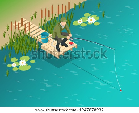 Fisherman with a fishing rod. Isometric fisherman with a fishing rod is fishing on a lake or river. Fisherman sitting with fishing rod and watching at float in lake.