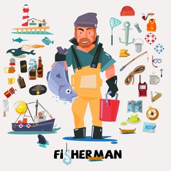 fisherman with big fish in hand. fishery icon set. graphic element. typographic design .character design. - vector illustration