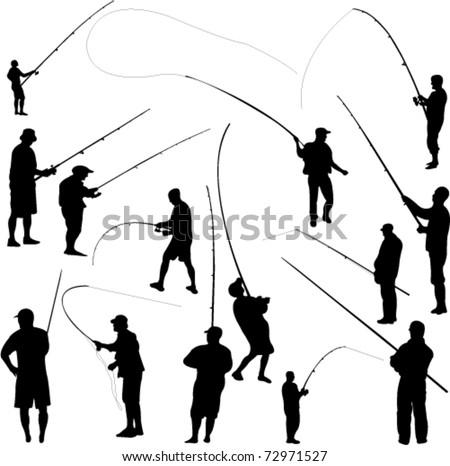 fishermen and fishing - vector