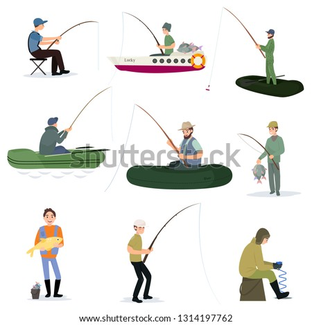 Fishermen Catching Fish with Fishing Rods Set, Male Fisher Characters Sitting on Shore and Using Boats Vector Illustration ストックフォト ©