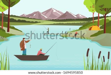 fishermen on lake in beautiful