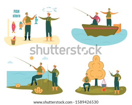 Fishermen or Fishers Cartoon Characters with Rods, Boat and Fishing Equipment on River Bank Set. Water Leisure Outdoor Activity on Nature, Male Hobby and Sports. Flat Vector Illustration Isolated. ストックフォト ©