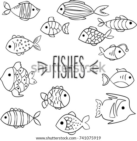 Fishes Outline Hand Sketch Vector