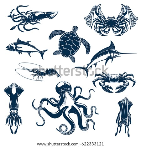 Fishes, sea o ocean animals vector icons. Turtle, marlin or tuna, crab with fisher tackle net and octopus, squid cuttlefish and prawn shrimp. Underwater fauna set for seafood of fishing design