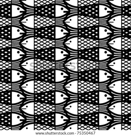 Fishes seamless pattern. Vector deign background.