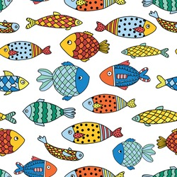 Fishes seamless vector pattern. Colorful ocean animal background for kids.