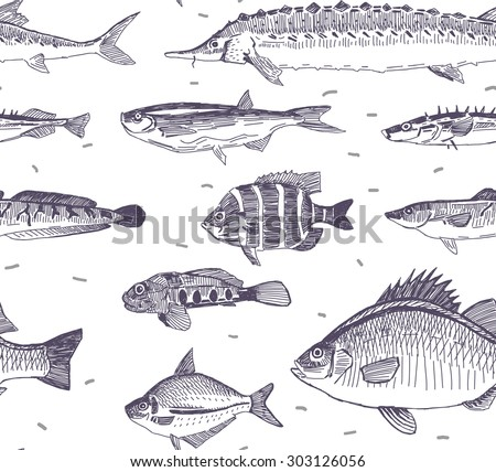 fishes vector drawings seamless