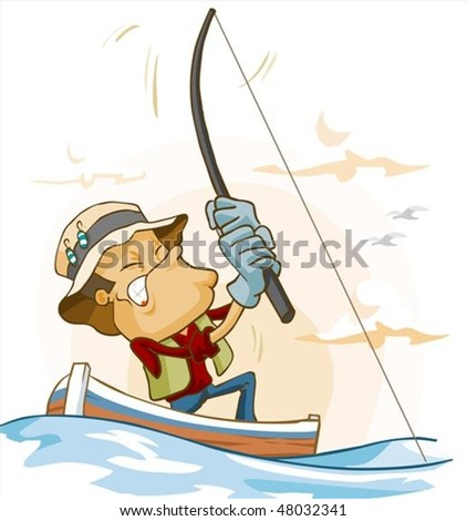 Fishing activity. Vector Illustration in isolated white