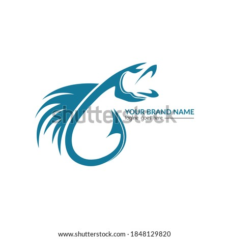 fishing and hook logo template