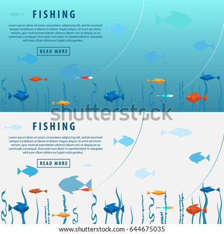 Fishing banner. Fishing concept. View under water. Bait, seaweed and lots of fish.