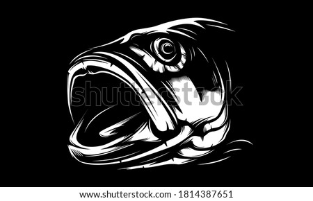 Fishing bass logo. Bass fish with rod club emblem. Fishing theme illustration. Fish Isolated on white. Foto d'archivio ©