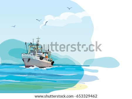 fishing boat against the shore