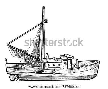 Fishing boat illustration, drawing, engraving, ink, line art, vector
