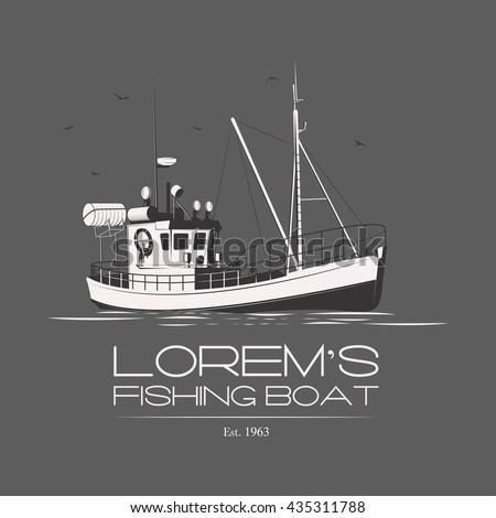 Fishing boat logo badge label on grey background. Vector. Editable