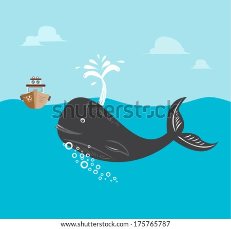 Fishing boat with Whale Vector