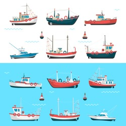 Fishing boats set. Fishing boats with side view and blue sea background with buoys.