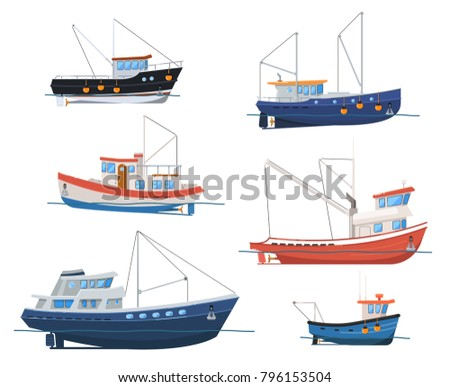 Fishing boats side view isolated on white background. Commercial fishing trawlers for industrial seafood production vector illustration. Vintage marine ships, sea or ocean transportation collection.