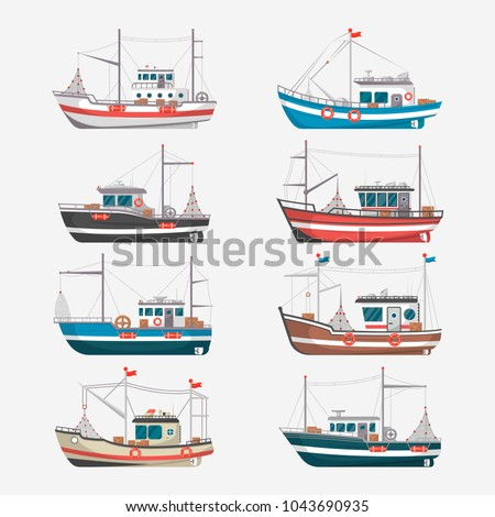 fishing boats side view...