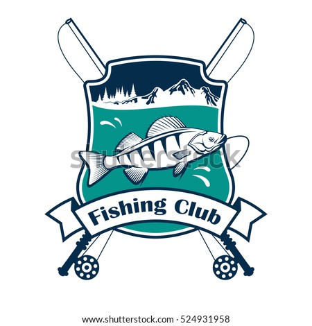fishing club sign vector