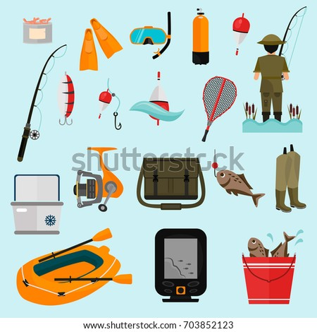Fishing color icons set for web and mobile design