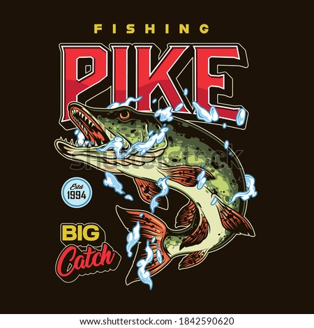 Fishing colorful emblem in vintage style with pike in water drops and splashes isolated vector illustration ストックフォト ©