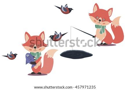 fishing cute fox character near