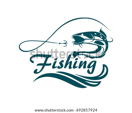 fishing emblem with catfish, waves and hook