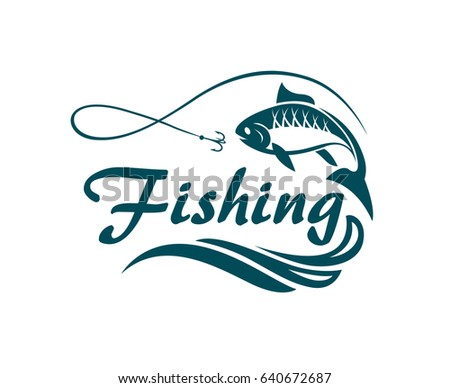 fishing emblem with waves and