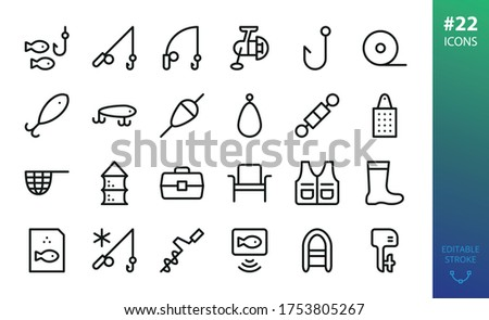 Fishing equipment isolated icons set. Set of fishing rod, spinning reel, lures,  inflatable boat, rubber boots, outboard motor, fish net, winter fishing, tackle box, swivel outline vector icon