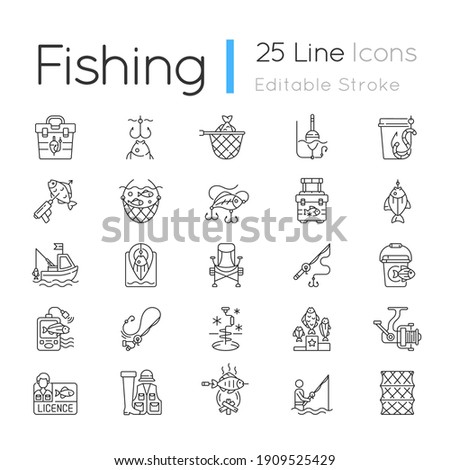 Fishing equipment linear icons set. cooking freshly caught fish. Fish finder, Fishing tournament. Customizable thin line contour symbols. Isolated vector outline illustrations. Editable stroke