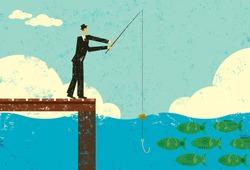 Fishing for Dollars A man fishing for 100 dollar bills.
