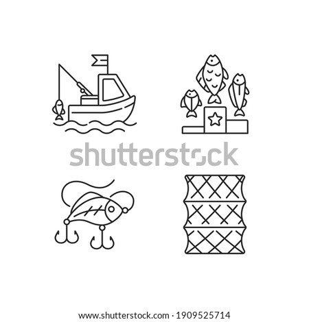 Fishing gear linear icons set. Boat fishing. Fishering from boat, commercial fishing. Customizable thin line contour symbols. Isolated vector outline illustrations. Editable stroke