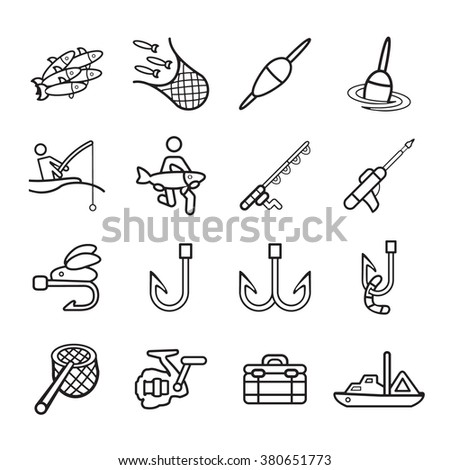 Vector Images Illustrations And Cliparts Fishing Icons Set
